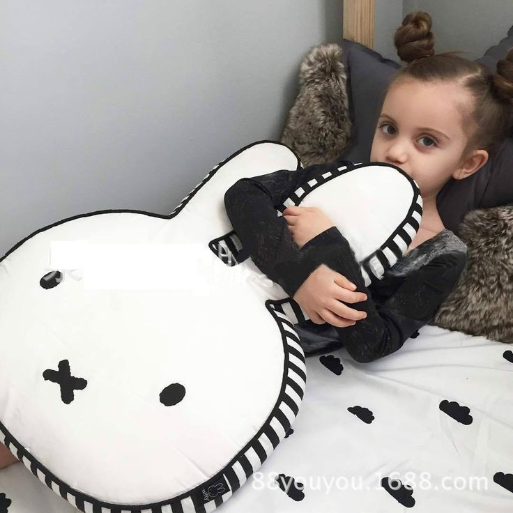[Visit to Buy] Ins Hot Bunny Rabbit Doll Pillow Miffy Doll Cartoon Miffy Rabbit Cushion Children Room Decoration Pictures Props Gift for Kids #Advertisement