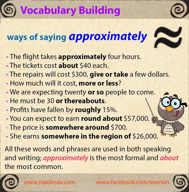 Vocabulary building: ways of saying Approximately