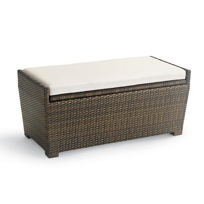 Tapered Wicker Storage Bench In 2020 Outdoor Storage Bench Patio Furniture Storage Small Outdoor Storage