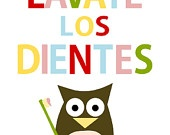 Lavate las manos - owl - colors -spanish - digital print - 8x10 on A4. €12,00, via Etsy.