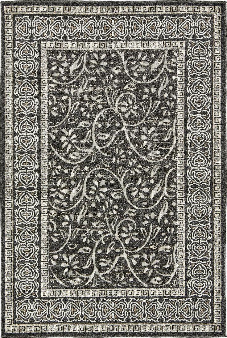 Black 4' x 6' Transitional Indoor/Outdoor Rug | Area Rugs | eSaleRugs