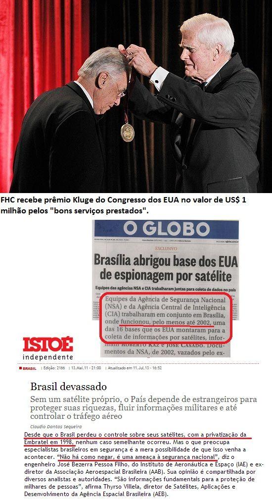 Sugerido por Assis Ribeiro CPI da espionagem deve convocar FHC para explicar entrega dos satélites da Embratel para os EUA Do Blog Amigos do Presidente Lula   Só tucano que se finge de ingênuo pode se