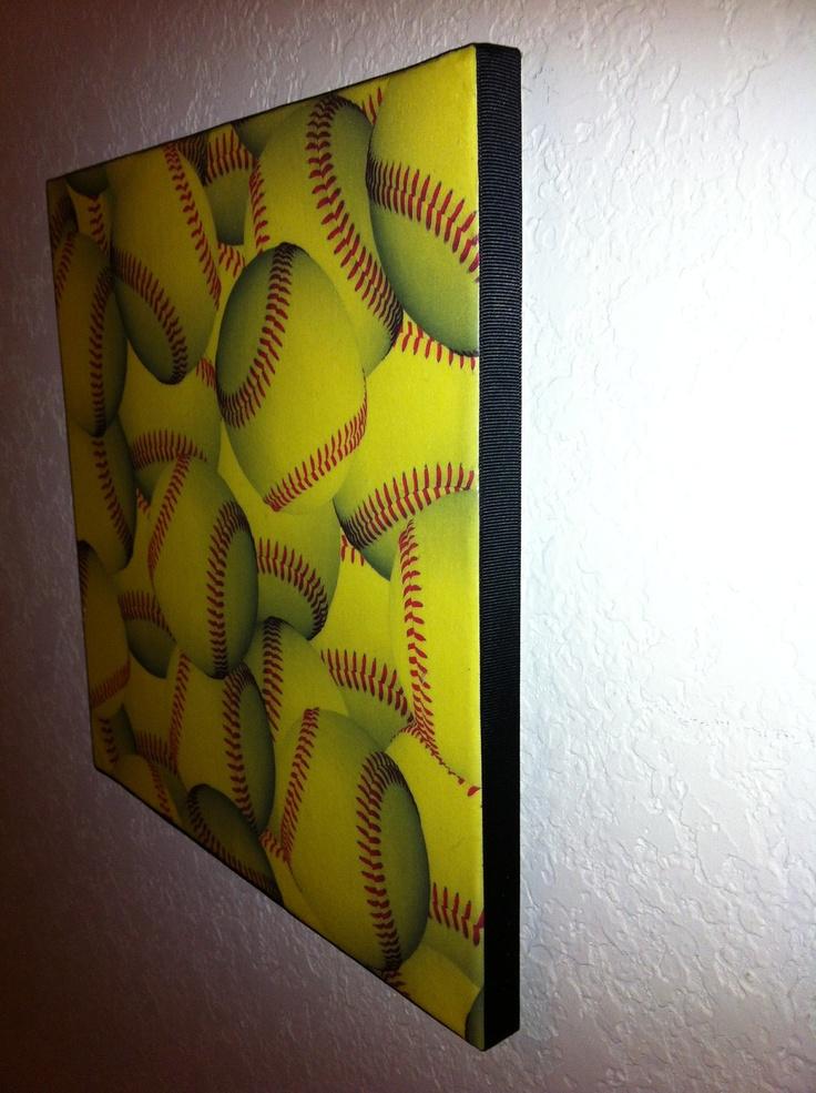 12x12 softball wall hanging 1000 via etsy