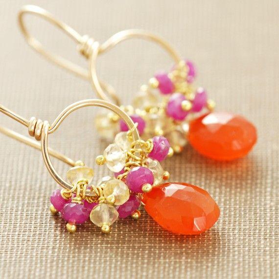 carnelian, pink sapphire and citrine handmade earrings in 14k gold fill.. fruit PUNCH. loves