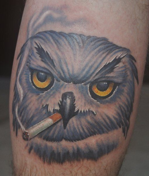 Owl Smoking Tattoo by Mike Parsons #Tattoos #Owl #SmokingOwlTattoo  http://tattoopics.org/owl-smoking-tattoo-by-mike-parsons/