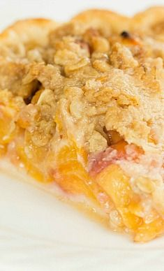 Peach Crumble Pie Recipe ~ A simple peach pie with an oat-crumb topping.