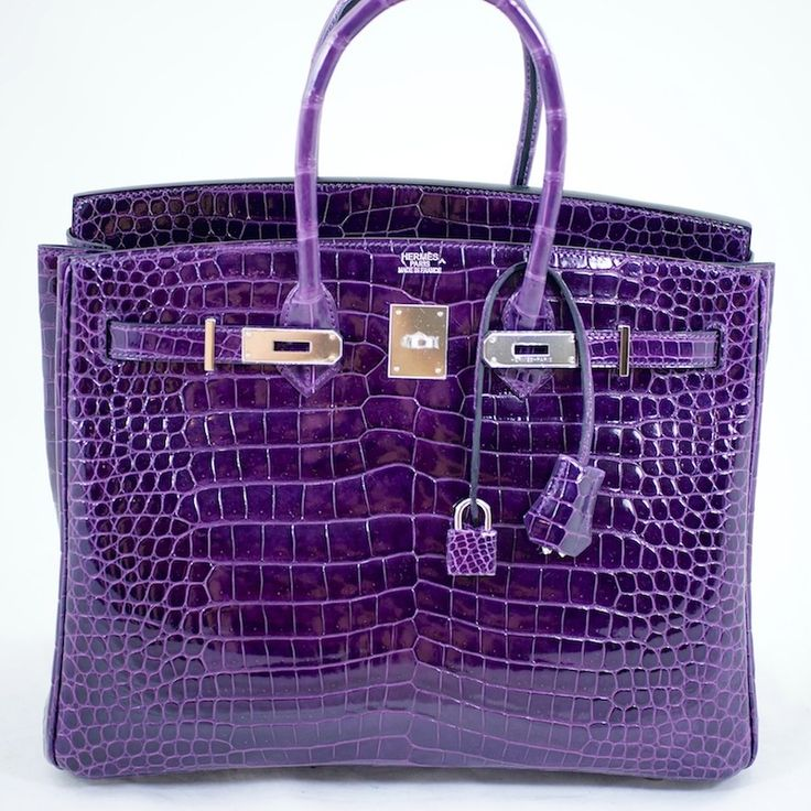 """AH= """"OK< I have about 5 purple bags already, and I see no real need to spend what this one costs, but it looks lovely all the same. Hermes Birkin Bag 35cm Crocodile Amethyst Porosus Phw"""
