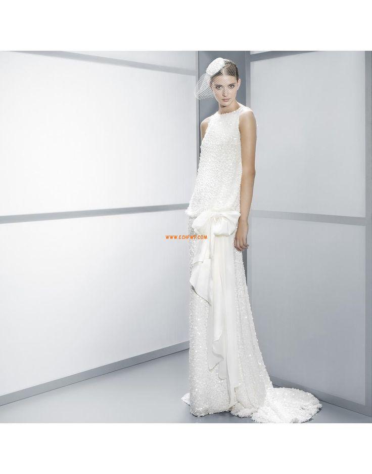Robe de mariée 2014 fourreau pailleté noeud à boucle col ras du cou