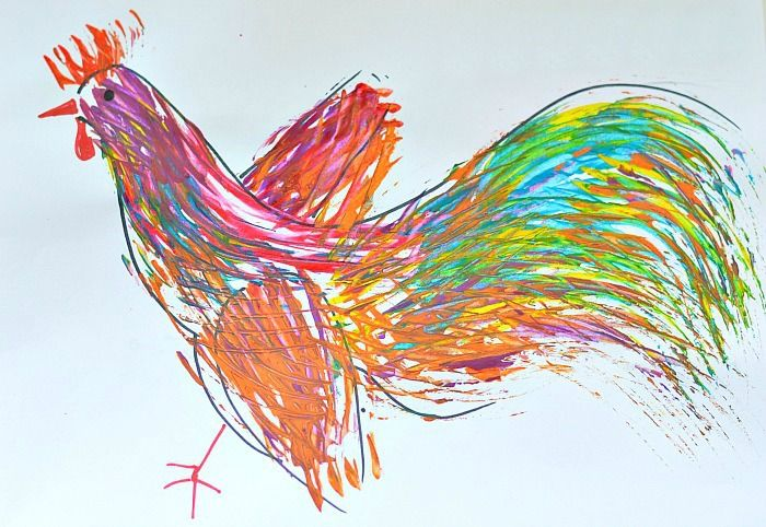 year of the rooster craft for kids | Can you guess what item replaced paintbrushes in this cool rooster ...