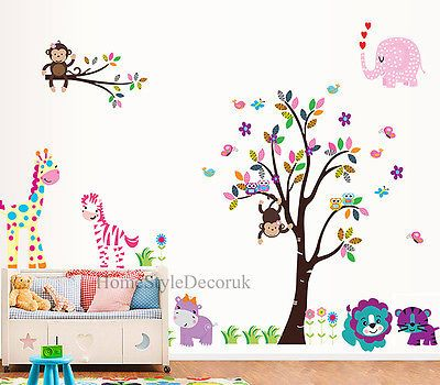 Jungle-Zoo-Animals-Tree-Wall-Stickers-Kids-Nursery-Decals-Girls-Bedroom-Decor