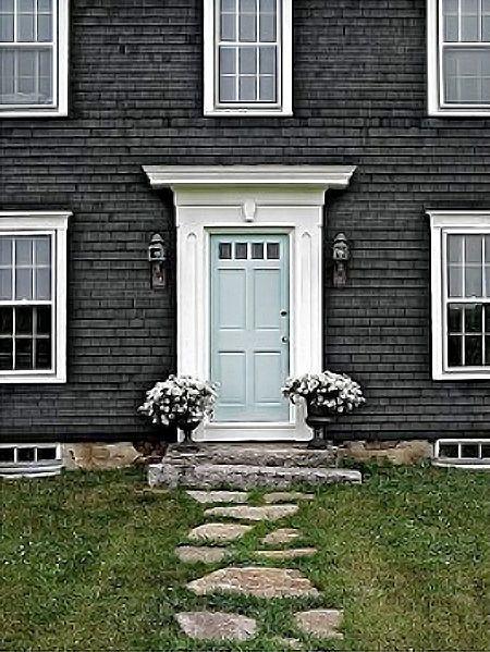 Blue door grey house white trim exterior paint colors - Front door colors for grey house ...