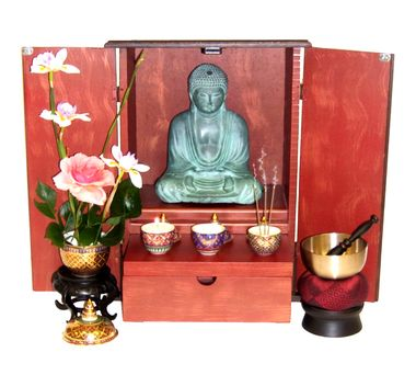 Butsudan Altar Cabinet - Solid mango Wood Dark Walnut Finish - Cabinet Only