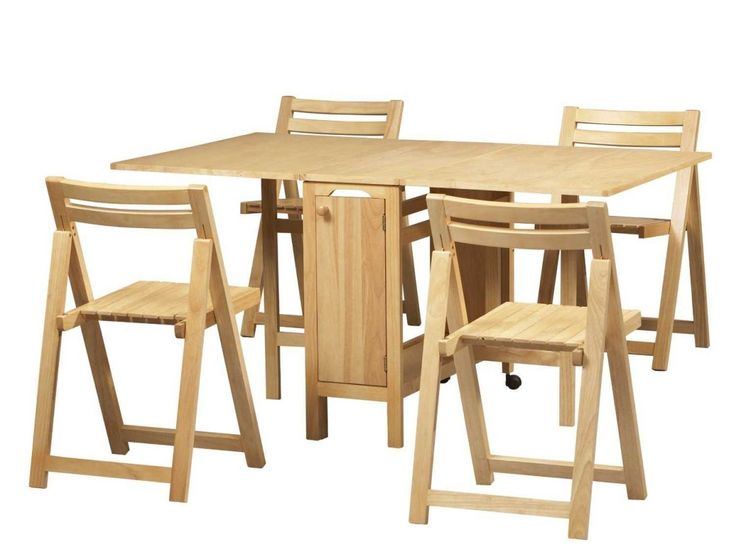 Dining Room Simple 5 Piece Dining Set Space Saving Compact Furniture Design  With Hard Wood Material