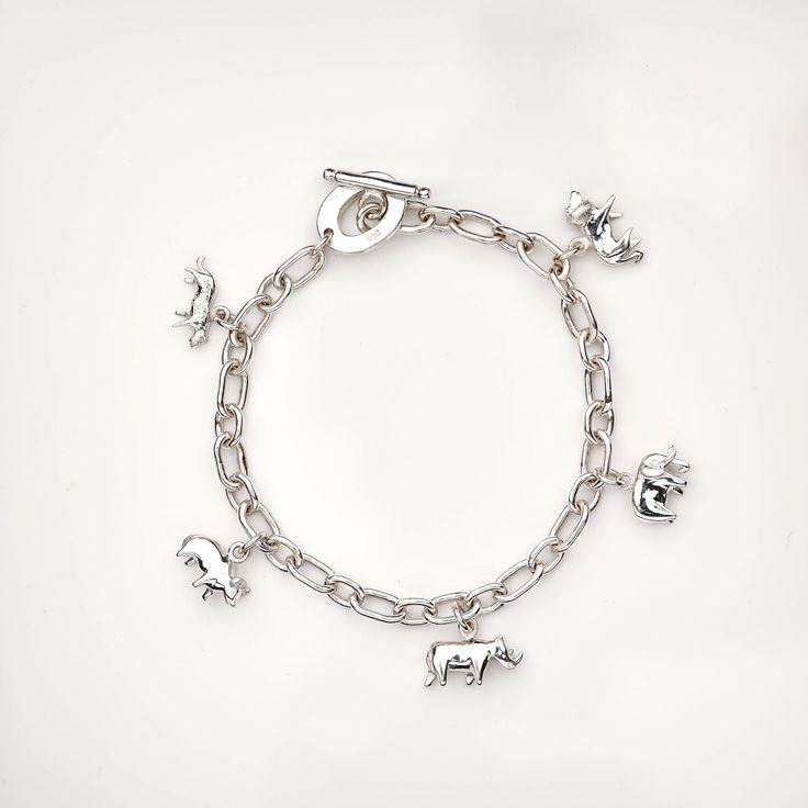 Sterling silver big five charm bracelet