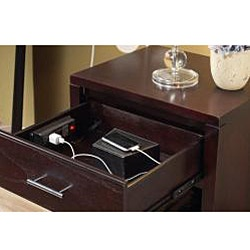 @Overstock - Materials: Tropical mahogany solid wood and eastern ash wood veneer   Finish: Espresso    Built-in power outlets for convenient electronic device charging   http://www.overstock.com/Home-Garden/Nevis-Charging-Station-Nightstand-in-Espresso/6153611/product.html?CID=214117 $241.99