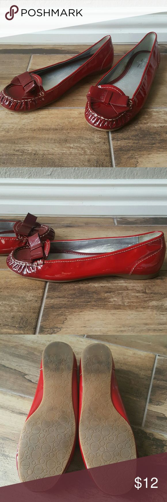 Red Loafer It is a two tone color shoe. The front of the shoe is darker red wine color and red the rest of the shoe. Shoes Flats & Loafers
