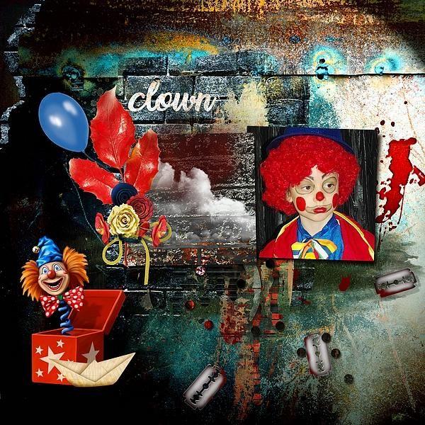 The Bad Clown by Kitty Scrap Template by Dawn Inskip Photo Kitty Scrap