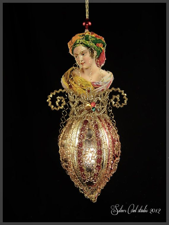 Victorian Christmas Ornament  Lady in Fancy by SilverOwlStudio, $195.00