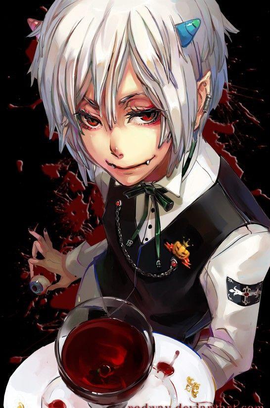 Creepy anime demon boy