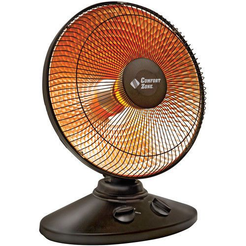 """14"""" Home Space Heater Oscillating Parabolic Dish Radiant Heater with Safe Switch #ComfortZone"""