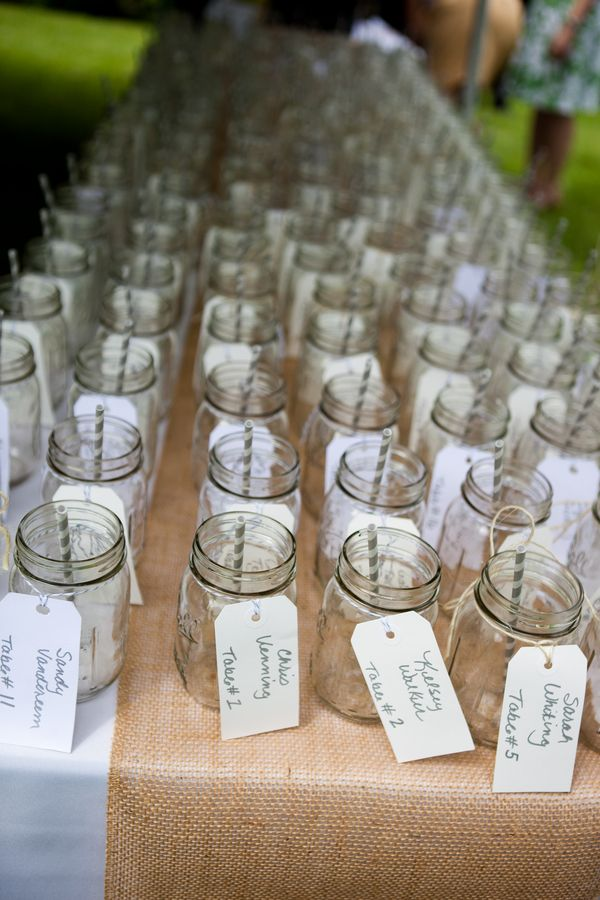 Drinking glasses for name holders...I would love to have mason jars for everyone to drink out of and also take home with them as the favor with our wedding date on it