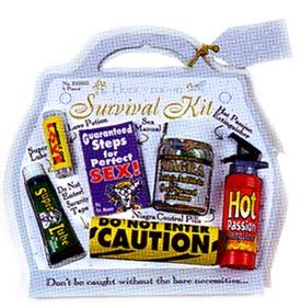 """This Honeymoon Survival Kit lets her know she may need all the help she can get! 6 piece honeymoon survival kit contains a sex manual, love potion, super lube, hot passion fire extinguisher, niagra control pills and caution, and """"do not enter"""" security tape. When you say """"I DO"""" it is said you're legally wed and ready for bed. So hop in the sack, take a roll in the hay, use this kit and you're on the way!"""
