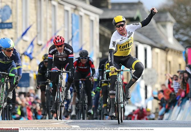 Dylan Groenewegen (LottoNL-Jumbo) wins stage one of Tour de Yorkshire 2016.