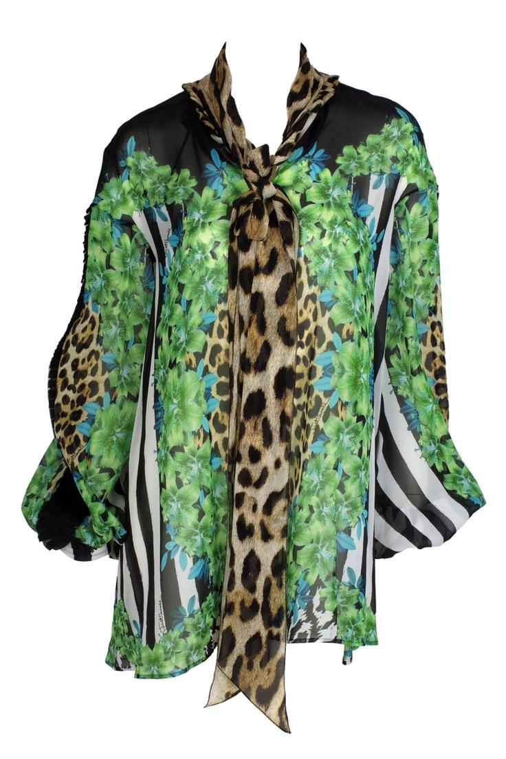 Silky tunic green black and leopard !! By Just Cavalli ! so fashion #GBModa