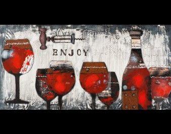 ilxe664 - Schilderij wijn 70x140 3d elementen 279 euro
