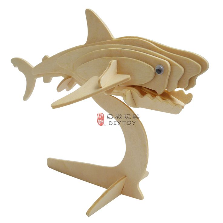 Shark----DIY 3D Jigsaw Woodcraft Animal Kits Realistic Wooden Model Toy