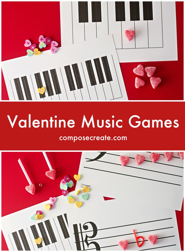 Valentine Music Games - 7 music games to teach note names, intervals, white keys, melodic dictation, rhythmic dictation, sharps, flats, and more! | composecreate.com  #pianoteaching