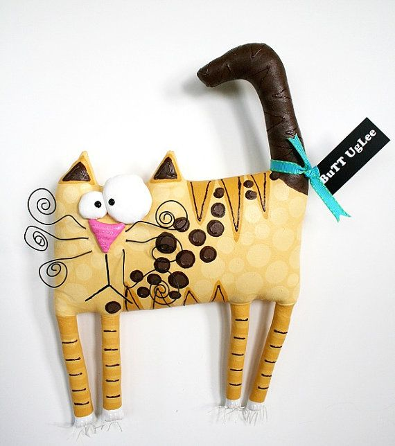 RESERVED FOR JUDY ......CaT Named Taco ... BuTT UgLee ... WhimsicaL WaLL ArT ... Cream Tan Brown and Polka DoTs  Team PosH NurserY