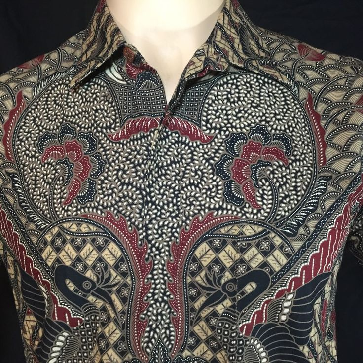 Mens Batik Print Camp Shirt Medium Geometric Trendy Festive Indie Hipster #Sunan #ButtonFront