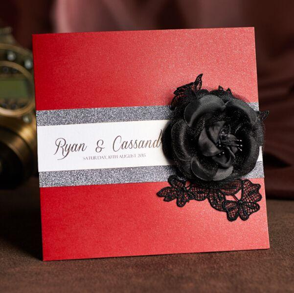 Красный персонализированных свадебные приглашения и вечер предлагает бесплатные RSVP & Конверты ручной работы с Black Rose RD-310 Свободная перевозка груза
