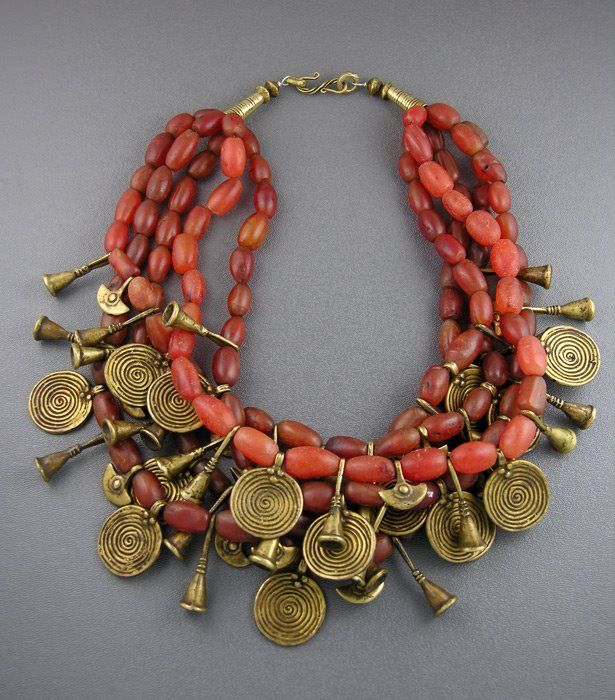 Dorje Designs, coral and brass necklace