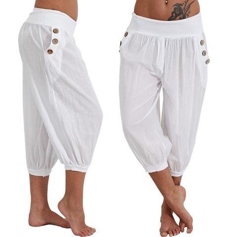 211dc9471d6 Plus Size 5XL 2018 Women Summer Solid Harem Pants Loose Knee Length  Trousers Female Elastic Waist Capris Pants