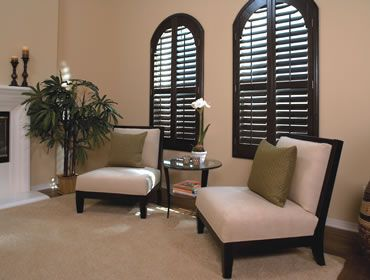 Plantation shutters diy for the home pinterest plantation shutter the o 39 jays and arched for Black window shutters interior