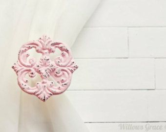 Two Metal Curtain Tiebacks / Curtain Tiebacks / Curtain Holdback / Drapery Tie Back / Shabby Chic Window / Pink Home Decor / Curtain Hook