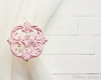 Two Metal Curtain Tiebacks / Curtain Tiebacks / Curtain Holdback / Drapery Tie Back / Shabby Chic Window / Pink Home Decor / Curtain Hook