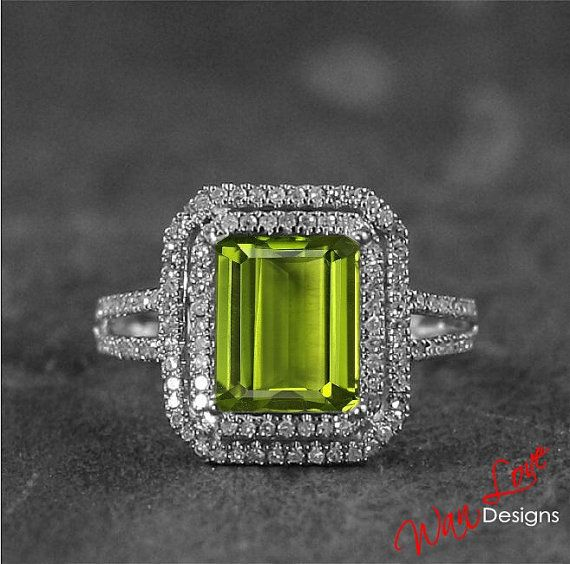 Peridot & Diamond 2 halo ring 3.18 ct 14k white, yellow, rose gold-Custom made your size-Wedding-Engagement-Anniversary-Layaway 14k-18k
