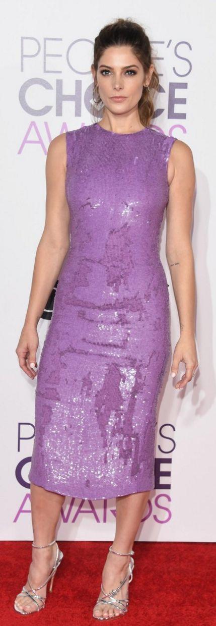 Who made Ashley Greene's purple sequin dress?
