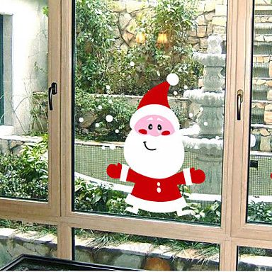 Christmas Decoration Wall Stickers Holiday Ornaments Lovely Santa Claus Snowman – AUD $ 36.59