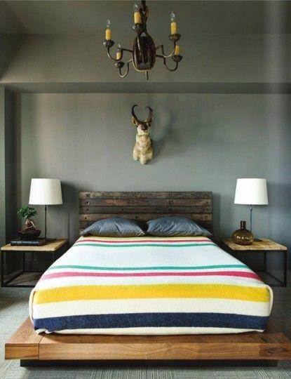 Cozy room, dark colour, Canadiana, woodsy, reclaimed wood headboard