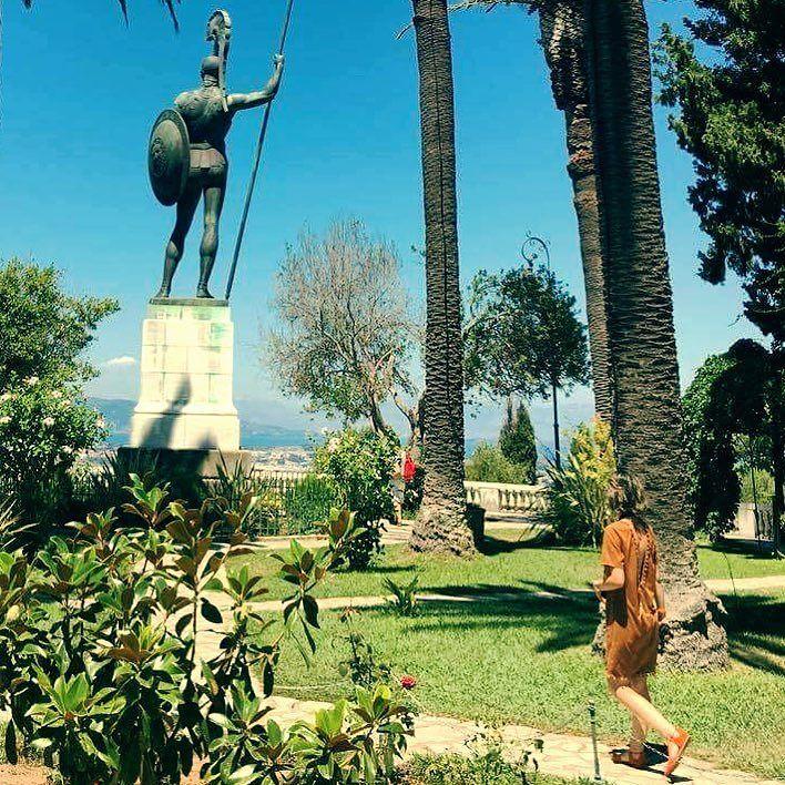 Achiles wait for me! . . . #achilles #sissypalace #princessissy #corfu #achilleion #statue #visiting #worldtraveller #globetrotter #greece #gardens #instatravel #