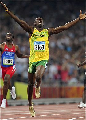 Usain Bolt - 100m/200m world record holder. 100m - 9.58 seconds, 200m - 19.19 seconds
