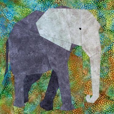 African Elephant paper-piecing