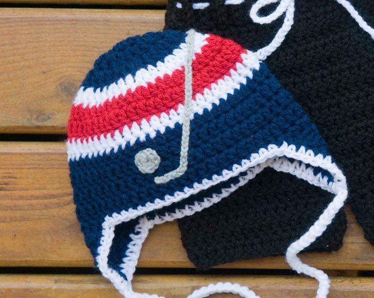 BABY HOCKEY Hat, Boy Hockey Hat, Crocheted Baby Helmet, USA Red White Blue, Baby Knit Hockey Hat, Newborn Hockey Hat, Hockey Baby Knit Hat by Grandmabilt on Etsy
