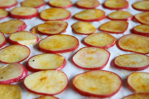 Radish Chips: This recipe calls for 1/4 inch slices, but the photo looks more like 1/8 inch slices..