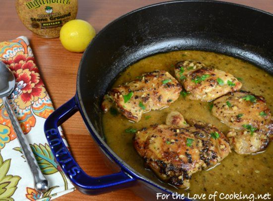 "<p>The lemon and mustard give this chicken an extra special flavor. Simple and delicious. </p> <p><a href=""http://www.fortheloveofcooking.net/2013/10/lemon-and-mustard-chicken-thighs.html"">Get recipe here</a></p>"
