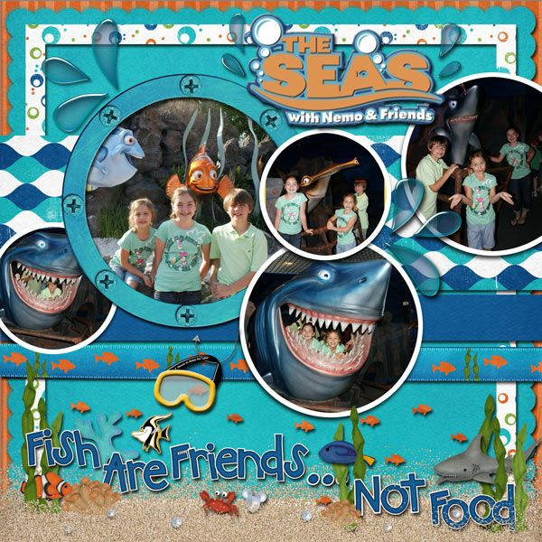 Disney World - Epcot - The Seas with Nemo & Friends Scrapbook Page Layout